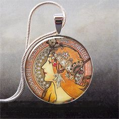 Can you ever have enough Mucha jewelry? No. This one is by thependantemporium. Not sure i would buy this, but It would be fun to make it!