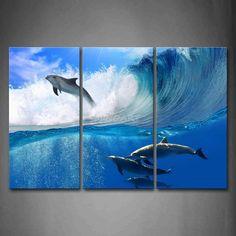 3 Stück Wandbilder Malerei Dolphins Springen Über Meer Und Schwimmen In Blue Sea Wave Bildleinwand Tier 4 Das Bild(China (Mainland))