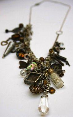 statement necklaces asymmetrical clasp   Custom Statement Asymmetrical Multicharm Necklace