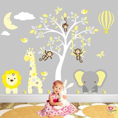 Enchanted Interiors Jungle Wall Sticker Decals Premium Self Adhesive Fabric Nursery  Wall Art Captivate Your Babys Imagination With Our Friendly Jungle ...