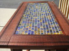 Blue & Gold tiled coffee table by EMWoodworkingDesign on Etsy, $325.00