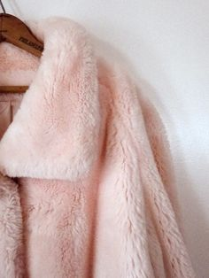 Vintage pink faux fur coat.