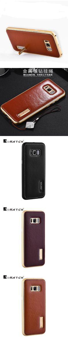 Original iMatch Case For Samsung Galaxy S8 S8 Plus Luxury Genuine Leather Phone Cases Bags Aluminum Metal Bumper Back Cover Case