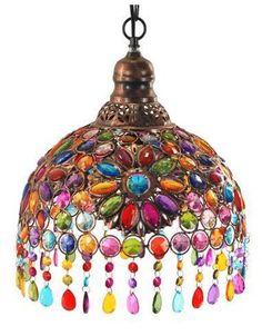 Lámpara colgante árabe cristal colores #decoracion #interiorismo #lamparas