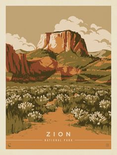 ~ Kenneth Crane of Anderson Design Group Travel Photographie, American National Parks, Photo Deco, Kunst Poster, Park Art, Guache, Zion National Park, Parcs, Vintage Travel Posters