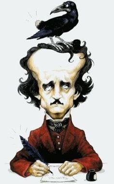 """Edgar behövde en fjäderpenna så att han kunde skriva sin novell; """"Korpen"""". så jäkla bra att det fanns en korp mer eller mindre villig att donera lite stjärtfjädrar...!"""