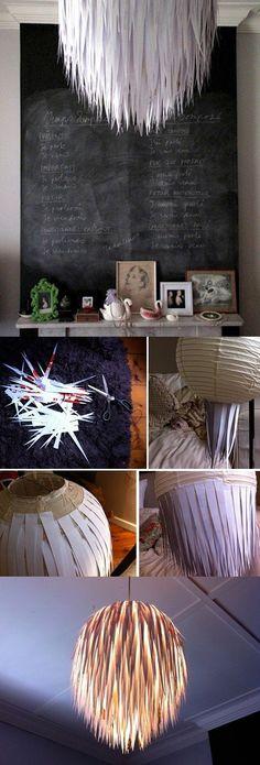 Lámpara de techo con trozos de papel