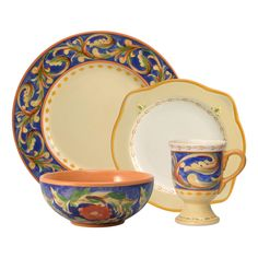People also love these ideas  sc 1 st  Pinterest & 16 Piece 222 Fifth LYRIA TEAL Floral Paisley Dinnerware Set NIB ...