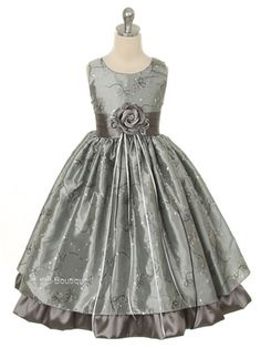 New Silver Gray Fancy Flower Girl Dress 2-12 Christmas Holiday Pageant Party #GraduationEasterChristmasPartyDressyHolidayPageantWedding