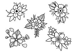 Still have these flower designs up for grabs Only 30 and in colour hit me up ya ll tattooapprentice tattooflash flashsheet - Flash Art Tattoos, Tattoo Flash Sheet, Halloween Tattoo Flash, Traditional Tattoo Flowers, Neo Traditional Tattoo, American Traditional, Traditional Tattoo Stencils, Cute Tattoos, Small Tattoos