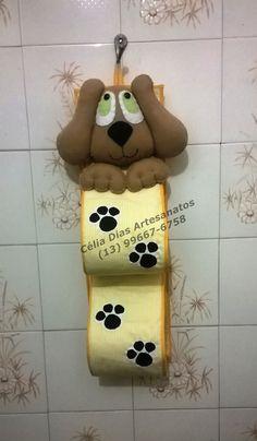 Porta papel higiênico em tecido, para 2 rolos decorado com cachorrinho em feltro.