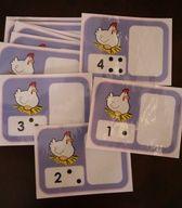 Pâques :La poulette pond des oeufs. Jeu de dénombrement