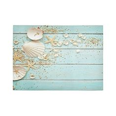 InterestPrint Starfish Seashell Polyester Area Rug Cover 7 x 5 Feet Summer Hawaii Beach Seaside Nautical Green Throw Rayon Fiber Carpet Rugs Cover for Home Living Dining Room Decoration >>> See this great product.Note:It is affiliate link to Amazon.