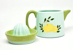 Lemon Juicer Ceramic Vintage Lemon Juicer Green Juicer by DabaDos