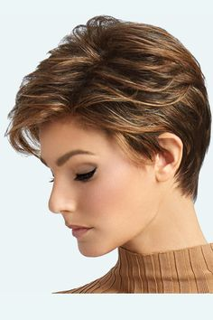 "The Advanced French Lace Front Wig by Raquel Welch comes with ""Long layers throughout the top and crown combined with loosely textured lengths to create a completely free-formed, windswept look. For added styling excitement, this short silhouette is comp Layered Pixie Cut, Long Pixie Cuts, Short Pixie Haircuts, Pixie Hairstyles, Super Short Pixie, Short Hairstyles For Girls, Short Fine Hair Cuts, Short Hair Cuts For Women With Round Faces, Girls Pixie Haircut"