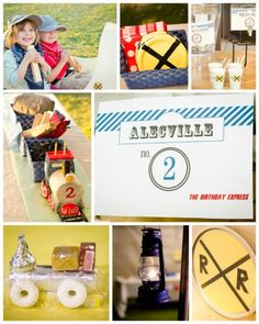 Train Party: This site has lots of great ideas for train decor and food. They were lucky to have a train made of rain barrels to ride in. A fun alternative would be to make a train using cardboard boxes for kids to play in.