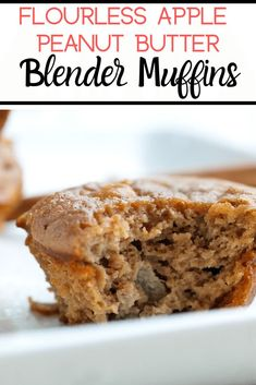 These Flourless Apple Peanut Butter Blender Muffins take just 15 minutes to make, start to finish! They are dairy-free and gluten free and make a great breakfast or snack. Love this easy healthy muffin recipe idea!