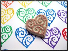 Swirly Heart Hand Carved Rubber Stamp by SweetSpotStampShop, $4.99