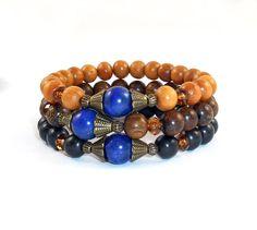 Sandalwood Oak-Tree Tiger Ebony Wooden Jewelry Wood Set Bracelets Guru Bead Protection Zen Healing Calming Strength boho Jewelry Yoga Stones de Mainashiki en Etsy
