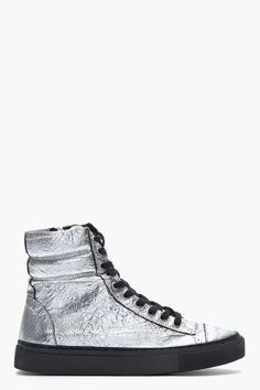SILENT BY DAMIR DOMA Metallic Silver Crinkled Leather Surna Sneakers