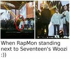 Image result for rapmon and woozi height difference