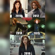 Black Widow 2010-2016. Iron Man 2, Avengers, The Winter Soldier, Age of Ultron, Civil War.