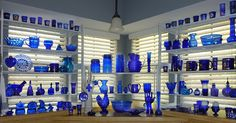 Blue Glass Collection on the window shelves