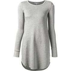 James Perse fleece swing dress ($240) ❤ liked on Polyvore featuring dresses, grey, trapeze dresses, grey dress, james perse, swing dress and grey swing dress