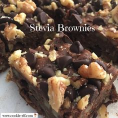 Stevia Brownies: ingredients, directions, and special baking tips from The Elf to make this low cal brownies recipe that uses no sugar. Diabetic Cookies, Diabetic Desserts, Paleo Dessert, Diabetic Recipes, Healthy Desserts, Vegetarian Recipes, Healthy Dishes, Healthy Recipes, Stevia Desserts