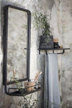Zwart/grijs metalen spiegel met planchet, 70 cm hoog x 50 cm breed