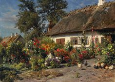 Peder Mork Monsted canvas wall art ronaldo posters cheap country decorations home interior wall art wave art decor paintings(China (Mainland)) Tile Murals, Tile Art, Garden Cottage, Fairytale Cottage, Traditional Landscape, Village Houses, Les Oeuvres, Landscape Paintings, Landscapes