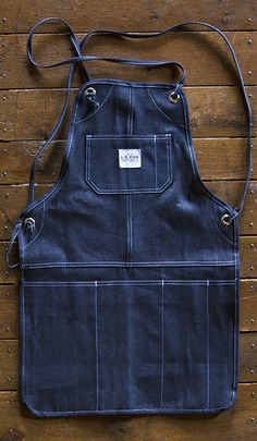"""L. C. King Brand   grilling apron   denim   32.5"""" x 22""""   Bristol, Tennessee, U.S.A."""