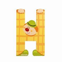 Lettres alphabet Clown en bois<BR>Lettre H<BR>JANOD