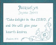 Jacalyn - Name Blessings Personalized Cross Stitch Design from Joyful Expressions Cross Stitch Quotes, Name Inspiration, Cross Stitch Designs, Stitch Patterns, Names With Meaning, Character Names, Gifts For Family, Cross Stitching, Custom Framing