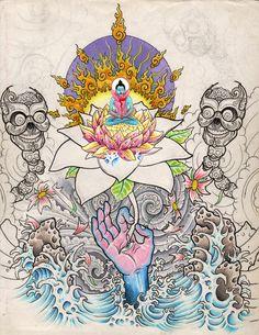 flaminglotus by Luke Brown, Psychedelic art