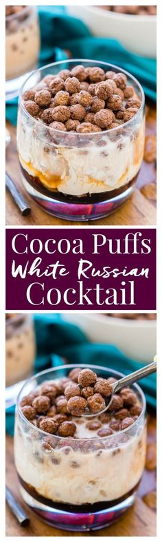 This Cocoa Puffs White Russian is a fun and unique twist on the classic cocktail made with Kahlua, vodka, cream and cocoa puffs. Perfect for late nights and brunch! via /sugarandsoulco/