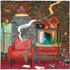 "Illustrations for Zacharie's ""Giant Bear"" new album release by Olivier Bonhomme"