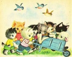 """Illustration by Elizabeth Webbe from """"Seven wonderful cats"""" - A Rand McNally Giant Book (1956). Story retold by Wallace C. Wadsworth"""
