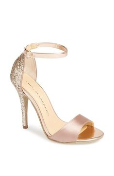 b8e19252292c Chinese Laundry pink satin   gold glitter heels - bridal shoes idea  Chaussures Rose Gold