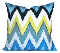 Schumacher Adras Ikat Decorative Pillow Cover - Martyn Bullard - Throw Pillow - Solid Back - Chevron Throw Pillows, Modern Throw Pillows, Toss Pillows, Ikat Pillows, Accent Pillows, Decorative Pillow Covers, Throw Pillow Covers, Ikat Print, Blue Chevron