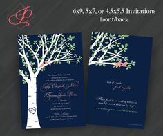 Leafy Birch Tree w/Lovebirds Invitations for Wedding/Shower/Birthday/Your Special Event (Shown in Navy/Pink, Teal/Orange, Grey/Yellow/Green) on Etsy, $20.00
