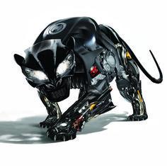 Final artwork - Panther 'made from bike parts'. Animal Robot, Futuristic Robot, Arte Robot, Pathfinder Rpg, Robot Concept Art, Robot Design, Cyberpunk Art, Science Fiction Art, Shadowrun