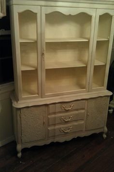 Rehab of a vintage French hutch. Added the raised detail to the front cabinet panels.