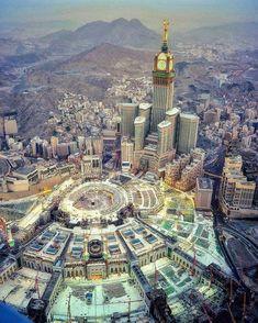 """A Magnificent View of Masjid-Al-Haram"" May Allah grant every Muslim's wish to visit it at least once in your life time. Mecca Madinah, Mecca Masjid, Mecca Wallpaper, Islamic Wallpaper, Quran Wallpaper, Beautiful Mosques, Beautiful Buildings, Masjid Haram, Muslim Images"