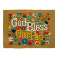 """""""God Bless Our Pad"""" - a Hippie Prayer for the Home, needlepoint c. 1970"""