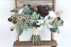 Faux Succulent and Silk Flower Bridal Bouquet Small Bridesmaid Bouquets, Wedding Bouquets, Wedding Flowers, Real Flowers, Silk Flowers, Destination Wedding, Wedding Day, Succulent Bouquet, Faux Succulents