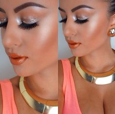 Wet, metallic eyeshadow, glowy bronzed skin and orange lips are great summer makeup trends
