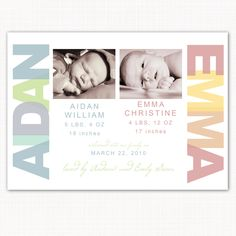 birth announcement for twins, with photo - welcome babies. $15.00, via Etsy.