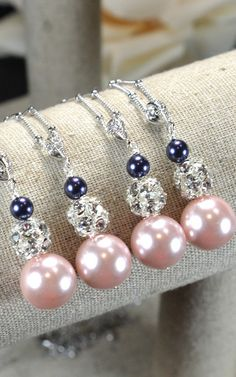 navy blue pink-Wedding Jewelry Bridesmaid Gift Bridesmaid Jewelry Bridal Jewelry blue blush pink Pearl Drop Earrings Cubic Zirconia necklace