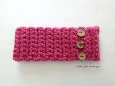 Button Headband Crochet Headband Earwarmer by BellaJulieBoutique